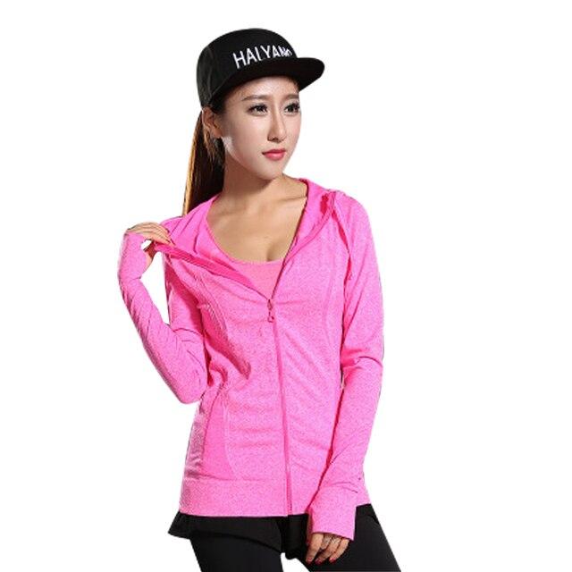 Женская высокой упругой футболка с длинным рукавом с капюшоном майка женщины молнией quick dry фитнес пальто женщина топы