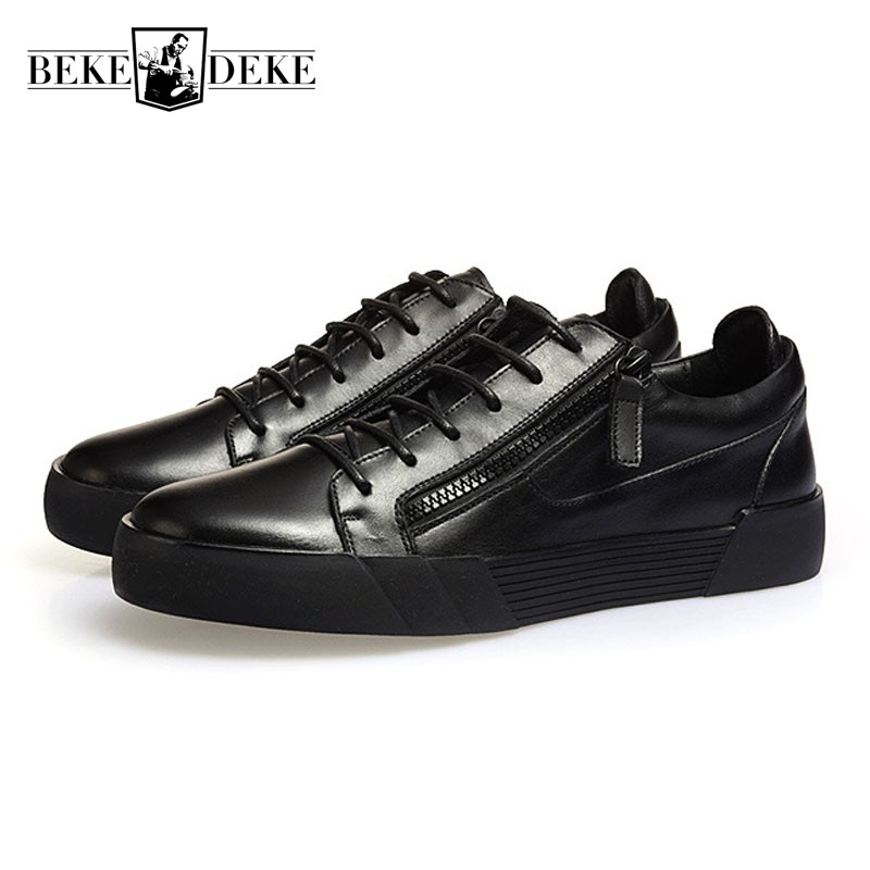 Men Zipper Black Punk Shoes Genuine Leather Students Casual Flats Shoes Euro Fashion Lace Up Breathable Streetwear Man Footwear zjnnk hot sale genuine leather men casual shoes black brown men flats handmade men father shoes lace up men shoes dropship h825