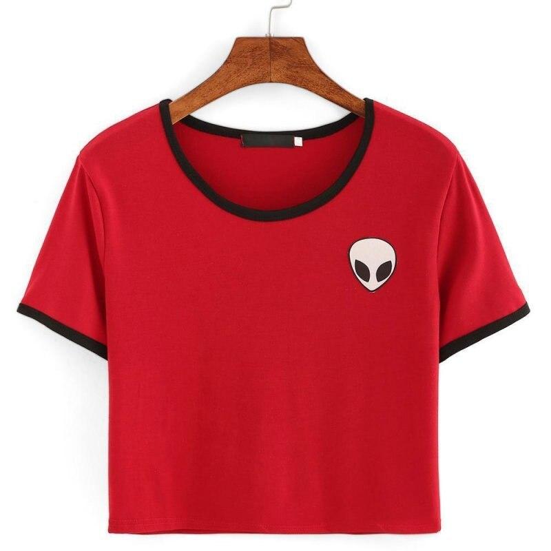 HTB1EQGdNFXXXXauaXXXq6xXFXXXh - Cute Stripe Short Sleeve Cotton Top Tee Alien Embroidery Tshirts