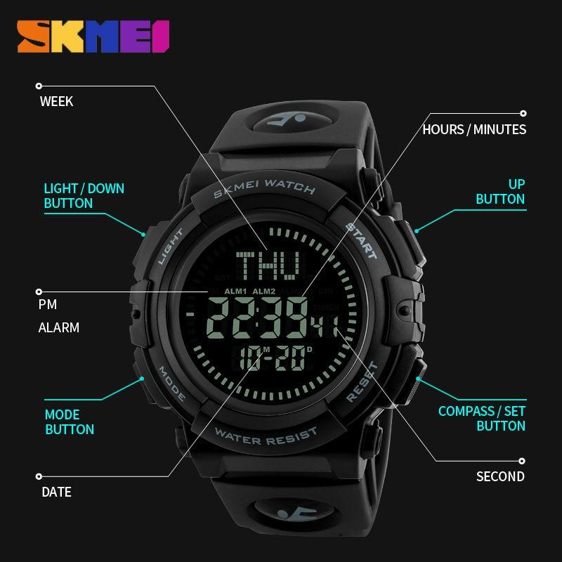 SKMEI Heren Horloge Zomer Kompas Multifunctionele Sport Horloges - Herenhorloges - Foto 5