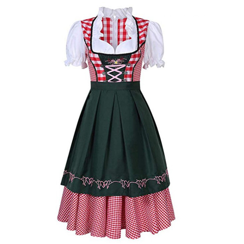 Traditional Bavarian Octoberfest German Beer Wench Costume Adult Oktoberfest Dirndl Dress With Apron