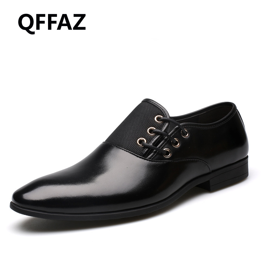 QFFAZ New Genuine Leather Men Oxford Shoes Lace-Up Business Men Shoes High Quality Men Dress Shoes Men Flats high quality men flats casual new genuine leather flat shoes men oxford fashion lace up dress shoes work shoe sapatos