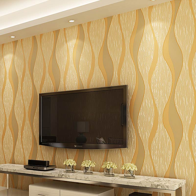 Modern 3D Geometric Curve Designs Non Woven Wallpaper Wallcovering Living  Room Background Striped Wallpaper Papel