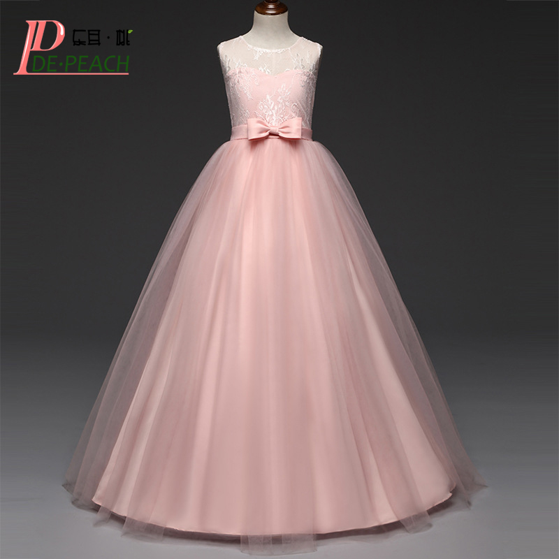DE PEACH 5-14Years Girls Lace Tulle Long Dress Princess Formal Party Dresses Kids Birthday Wedding Dress Teenager Girls Clothes