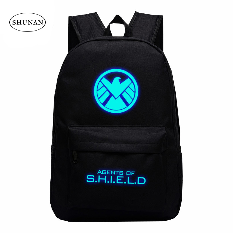 American TV Show Aegis Bureau Marvel Agents Canvas Luminous Printing Backpack School Bags For Teenagers Rucksack Children Gifts