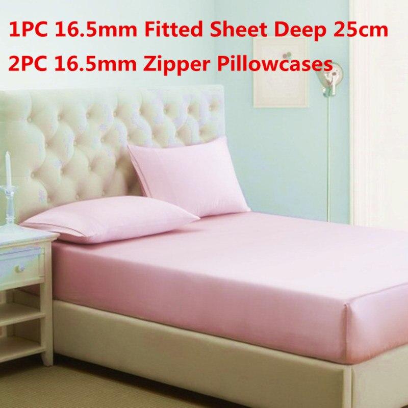 100 Mulberry Silk Bedding Sets 3PCS Silk Fitted Sheet Deep 25cm Zipper Pillowcase Stain Silk Sheet