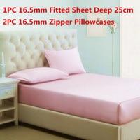 100% Mulberry Silk Bedding Sets 3PCS Silk Fitted Sheet Deep 25cm&Zipper Pillowcase Stain Silk Sheet Sets Multi Size High Quality