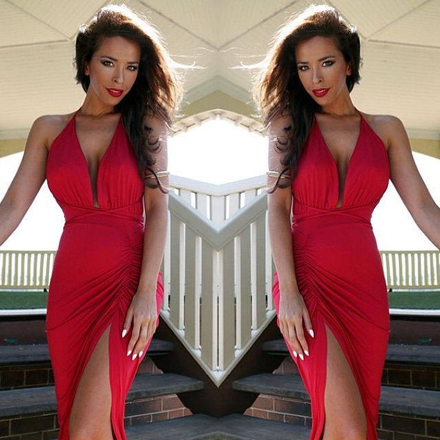 9d7f748ce29 Hot High Slit Asymmetrical Backless Dress Deep V neck Vestidos Spaghetti  Strapless 4 Colors Black Red White Gray Party Dresses -in Dresses from  Women s ...