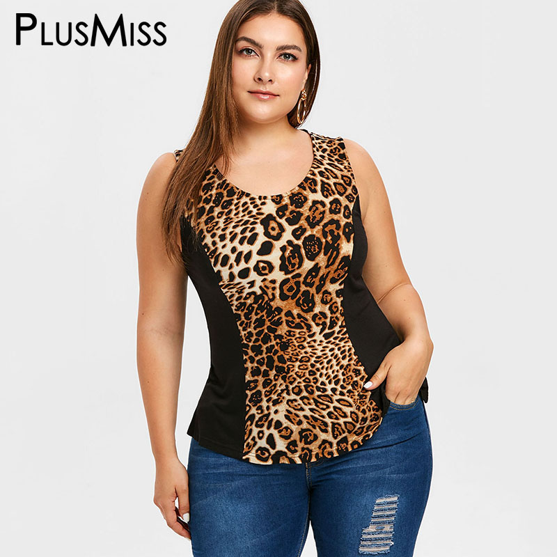 PlusMiss Plus Size 5XL Leopard Printed Sexy   Tank     Tops   Women Summer Tunic Sleeveless Vest   Top   Female Big Size 2019 XXXXL XXXL XXL