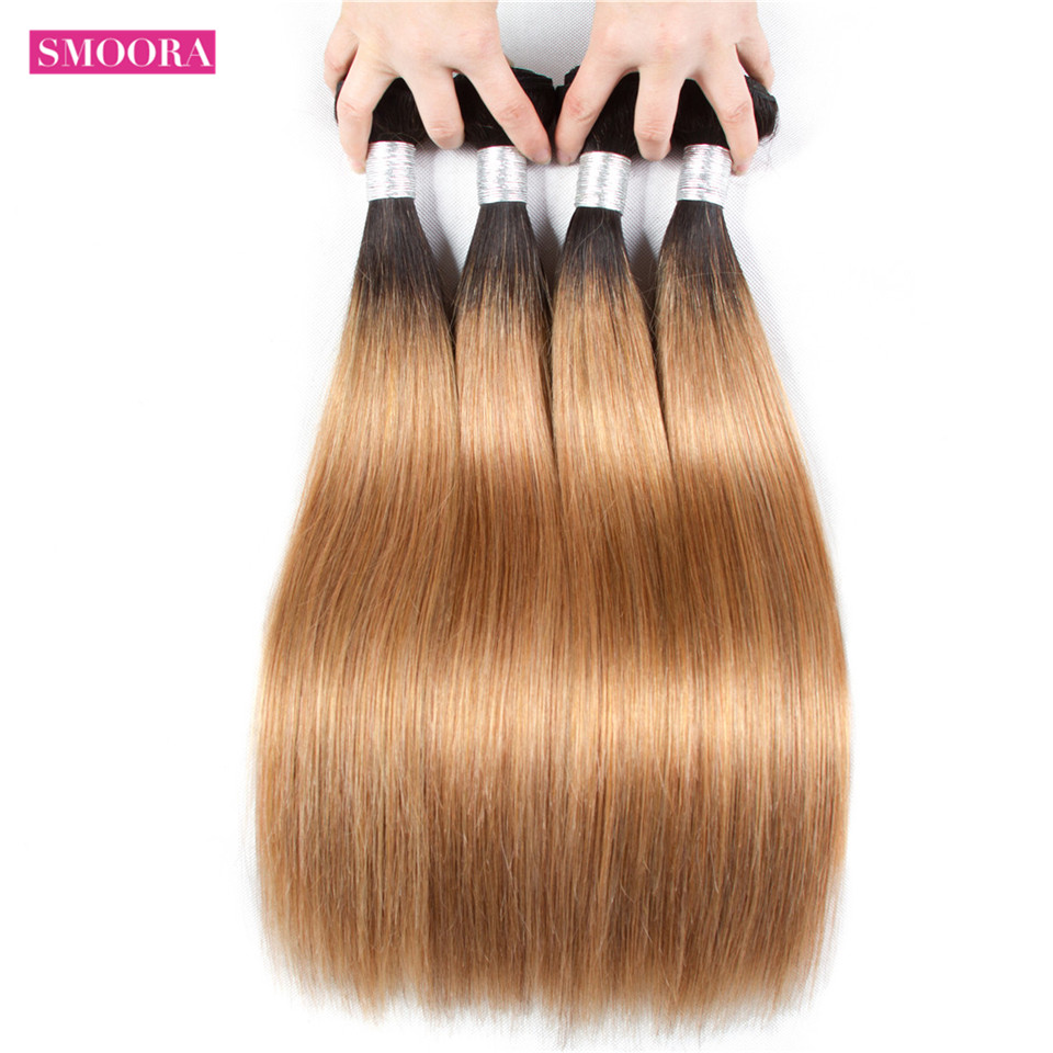 Smoora Hair Ombre  Straight 4 Bundles With Closure T1B/27 Ombre  Bundles With Closure Honey Blonde Non  2