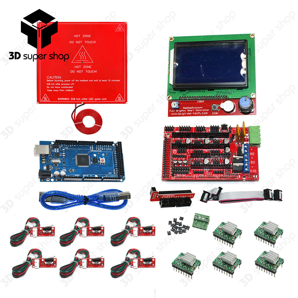 CNC 3D Printer Kit Mega 2560 R3 + MK2B + RAMPS 1.4 Controller + LCD 12864 + 6 Limit Switch Endstop + 5 A4988 Driver hailangniao cnc 3d printer kit for mega 2560 r3 ramps 1 4 controller lcd 12864 6 limit switch endstop 5 a4988 stepper