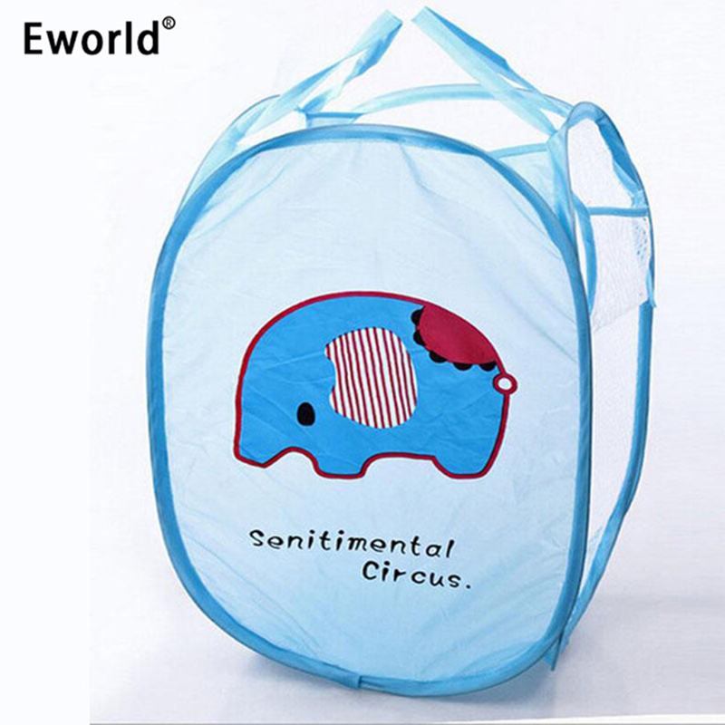 Eworld Folding Dirty Clothing Laundry Bucket Storage Basket Kanak-kanak Mainan Sepatu Kasut Kartun Penyimpanan Penyimpanan Binatang Kartun