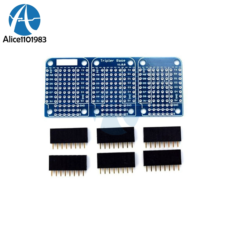 For Wemos D1 Mini Triple Socket Triplet Base Shield NodeMCU Compatible <font><b>ESP8266</b></font> Development <font><b>Expansion</b></font> <font><b>Board</b></font> Module With Pins image