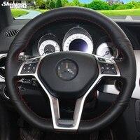 Glänzende weizen handgenähtes Schwarze Echtes Leder-lenkrad Abdeckung für Mercedes-benz GLK 260 300 200