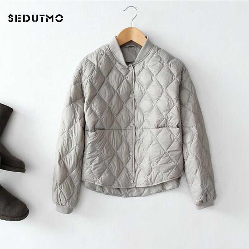 SEDUTMO, plumón de pato Ultra ligero para invierno, chaquetas de plumón para mujer, chaqueta negra corta acolchada de Otoño de talla grande, Parkas ED475