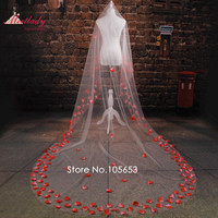 Cheap Real Samples Cathedral Train 3m Rose Petals Wedding Veil One Layer Flowers Bridal Veil Wedding Accessories RC13