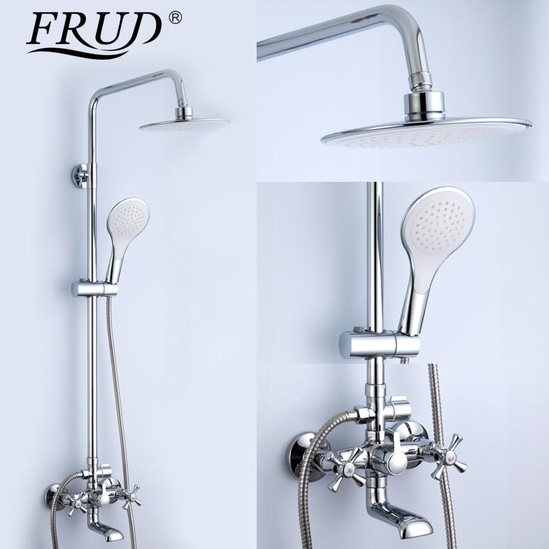 FRUD 1 SET baignoire douche salle de bain bain pluie douche toilettes robinet douche ensemble dans toboggan bar grand pommeau de douche handshow R24732
