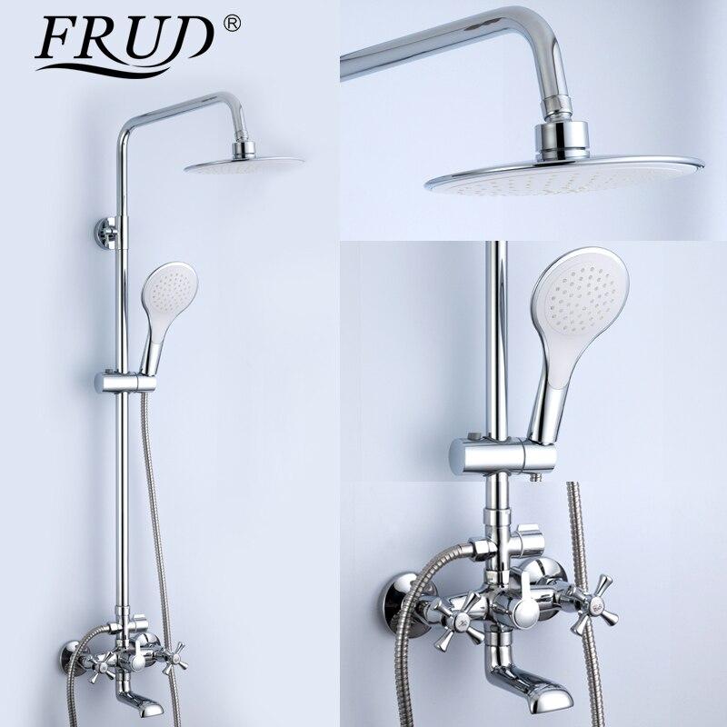 Frud 1set Bathtub Shower Bathroom Bath Rainfall Shower Restroom Faucet Shower Set In Slide Bar