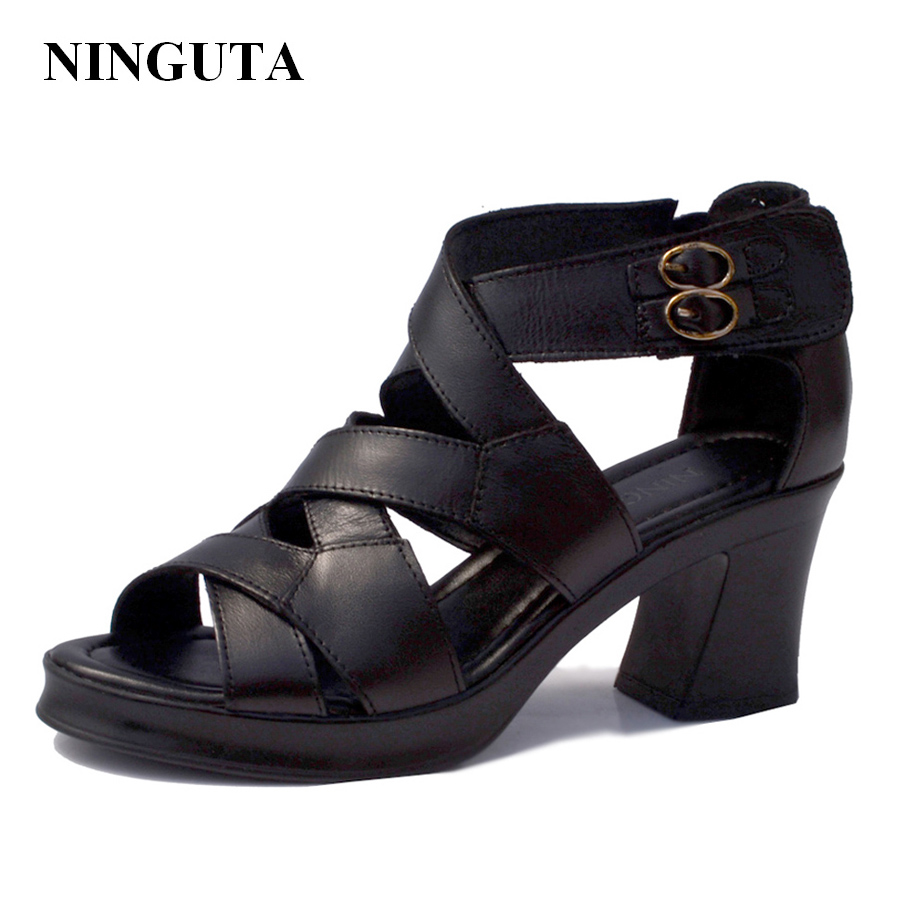 Genuine Leather high heels gladiator sandals women summer ladies shoes