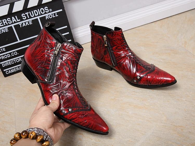 À Rétro Tendance Chaussures Cowboy Mode Cuir De Westorn Travail red Bottines Pour Gaufré Bottes Décontracté Chelase Hommes Partie Black Coudre rhtdsQCx