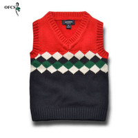 OFCS New Design Boys Vest Cardigan Sweater Brand Preppy Style Boys Autumn Knitted Wool Vest Coat