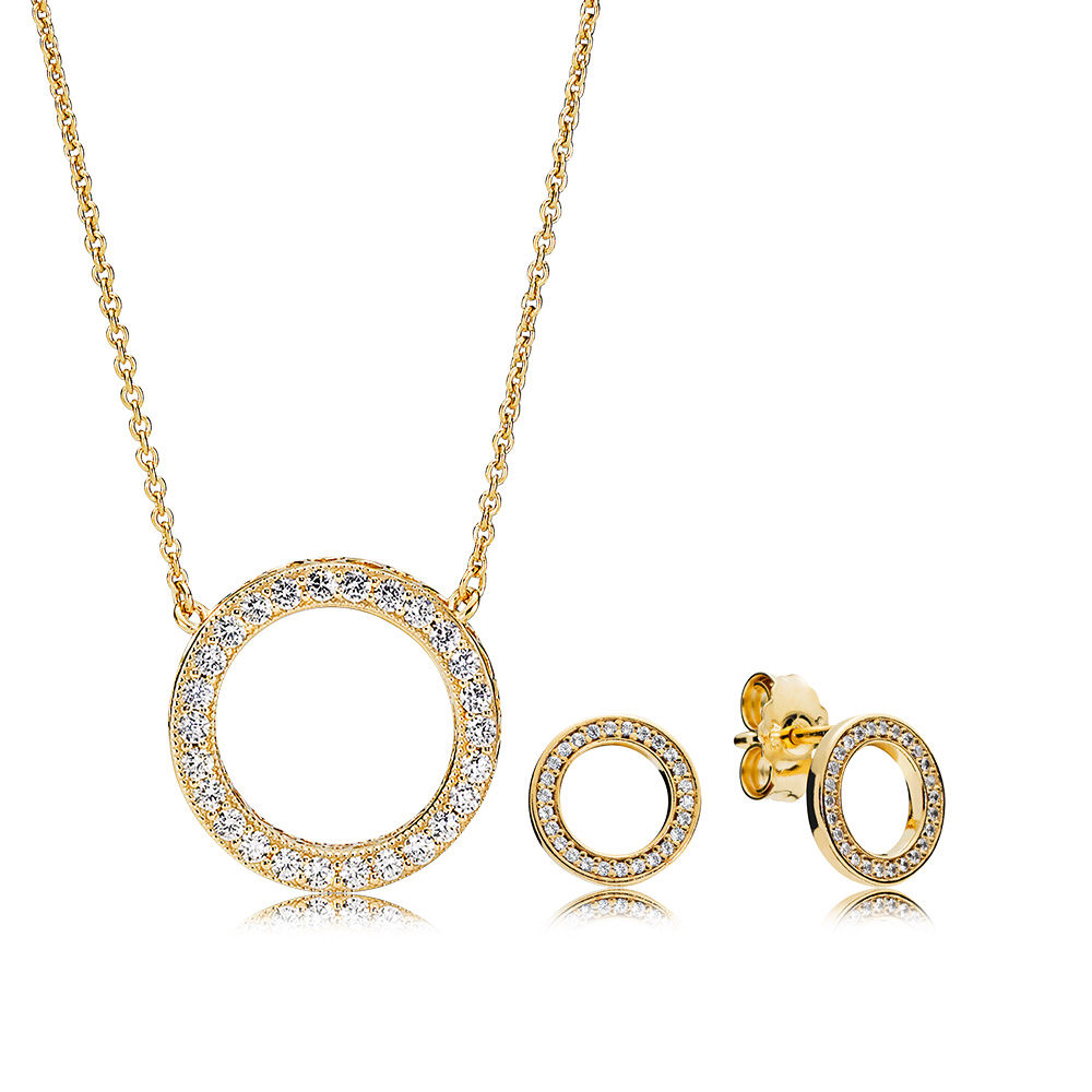 2018 100% 925 Sterling Silver Shine Forever Necklace And Earring Set Fit Charm Original Necklace A Set Of Prices