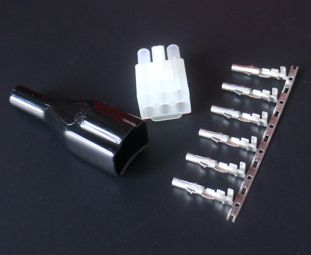 10pcs 6p 6 Pin Short Wave Radio Power Socket Cable Cord Connector Plug W/Sleeve For Yaesu FT-857D FT-89D IC-725A Radio
