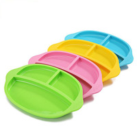 Hot Silicone Bowl 100% Safe Silicone Placemat Separated Design Plate Slip resistant Kid Snack Dinner Plate Baby Feeding Bowl