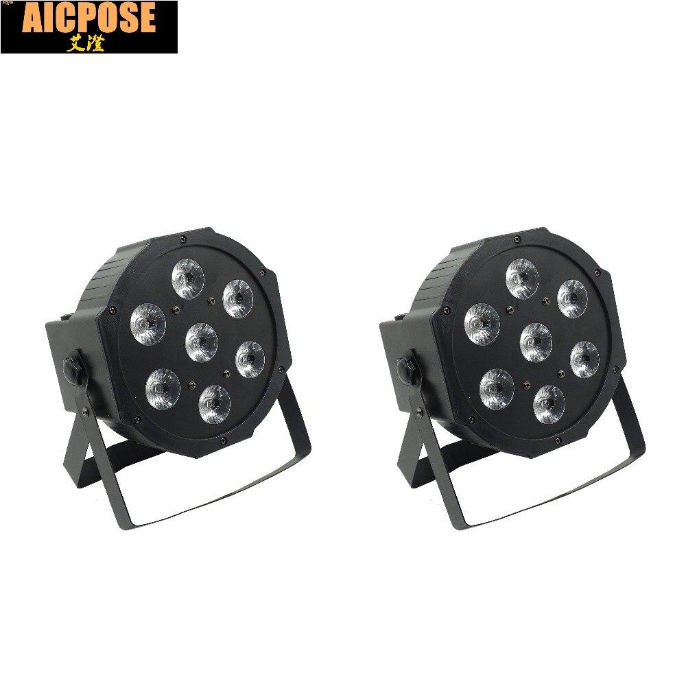 2pcs/lots 25 Angle Big Lens 7x18W Led Par Lights RGBWA UV 6in1 Flat Par Led Dmx512 Disco Lights Professional Stage Dj Equipment