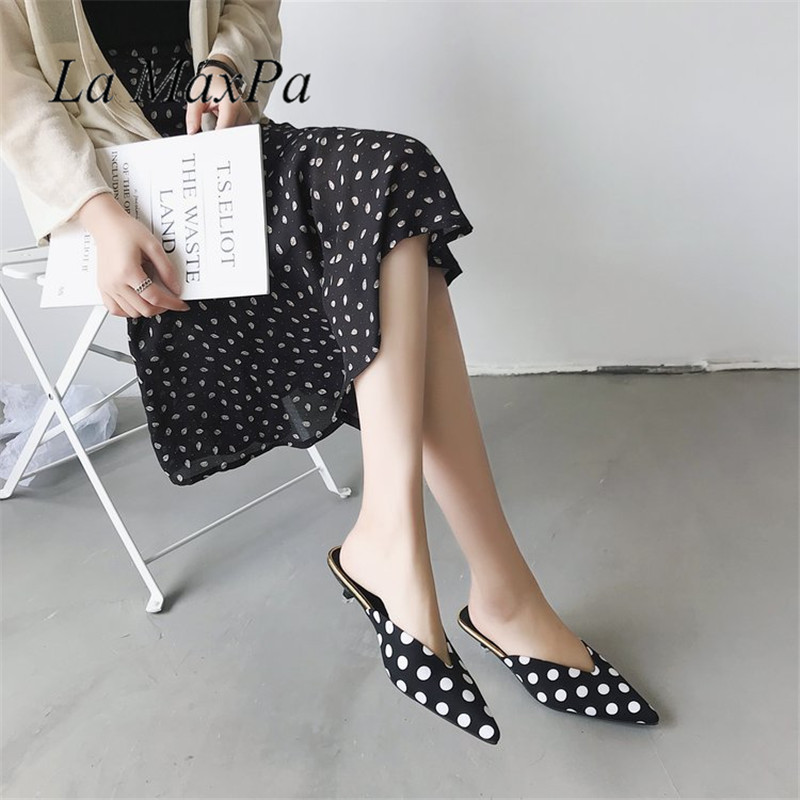 La MaxPa 2018 Summer Vogue Mules Slides Women Thin High Heel Slippers Lady Pointed Toe Sandals Dress Shoes Polka Dot Slippers europe america style summer slippers women thin high heel pointed toe pearl fashion denim sandals shoes size 35 40 sxq0709