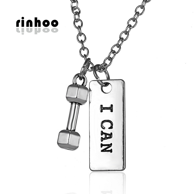 Rinhoo Style Womans Barbell Charm Necklace Work Out Weight Plated Necklace Jewelry Fitness Gym Dumbbell Pendant Necklaces