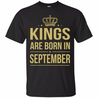 Tailored Shirts O Neck Short Sleeve Fashion 2016 Mens KINGS ARE BORN IN SEPTEMBER Tee Shirts