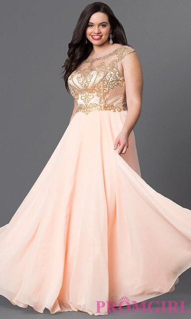 2016 Plus Size Dress Long Peach Chiffon Vestido De Festa Evening ...