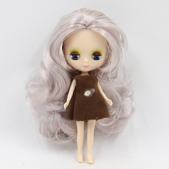 Mini Blyth nude doll 10CM new hair color with random dress with bangs or no bangs normal body DIY fashion toys