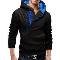 2017 New Fashion Hoodies Brand Men Side Zipper Letter Sweatshirt Male Hoody Hip Hop Autumn Winter