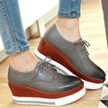 AIWEIYi 2017 Womens New Retro England Style Round Toe Thick Heel Wedges Lace up Oxfords Shoes Casual Shoes Black Red Grey