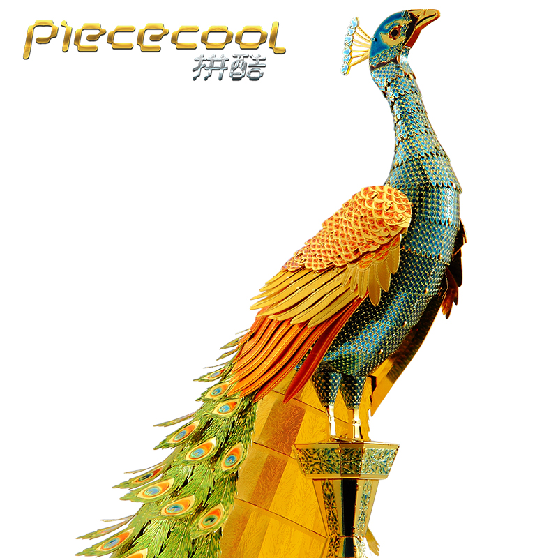 2018 Piececool 3D Métal Puzzle Coloré Paon Modèle Animal DIY Laser Cut Assembler Puzzle Jouet De Bureau décoration CADEAU Pour Vérification