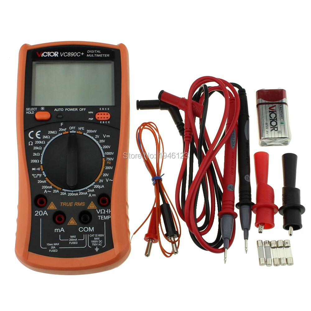 Original VICTOR VC890C + Elektriker Digital Display Multimeter True RMS Multimeter 2000 UF Kondensator Mess Gerät image