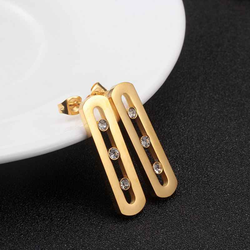 Stainless Steel CZ Stud Earring for Woman Gold Plating Crystal Earrings Trendy Sport Female Jewelry Gift Dropshipping