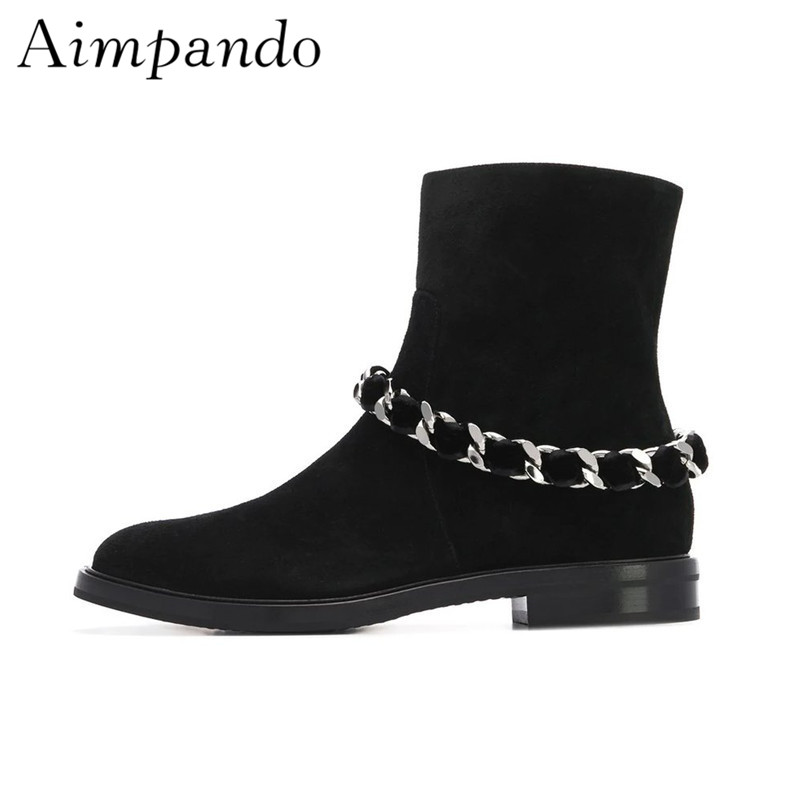 4e735497fef2b Black Suede Ankle Boots Women Autumn Winter Square Low Heel Round Toe  Chained Short Booties Fashion Martin Boots-in Ankle Boots from Shoes on  Aliexpress.com ...