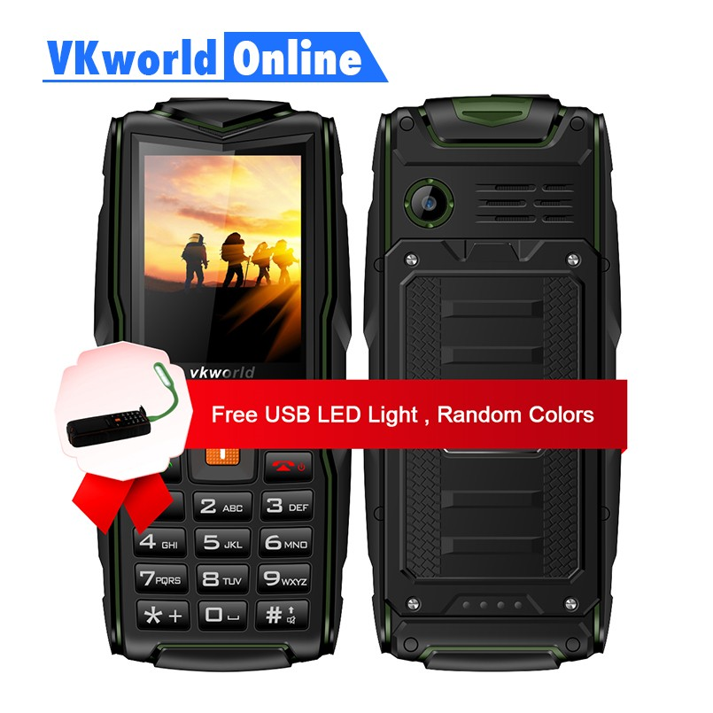 VKworld New Stone V3 Feature Phone Waterproof IP68 2.4 inch GSM FM Russian Keyboard 3 SIM Cards Slot 3000mAh 2G GSM Cellphone