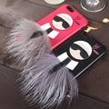 Роскошный Мех Case Cover Для Iphone 6 6 s i6plus 6 s плюс Mr KarlLagerfel Пушистый Кролик Кожи Волосы Капа Funda Кожа Мультфильм Case + Подарок