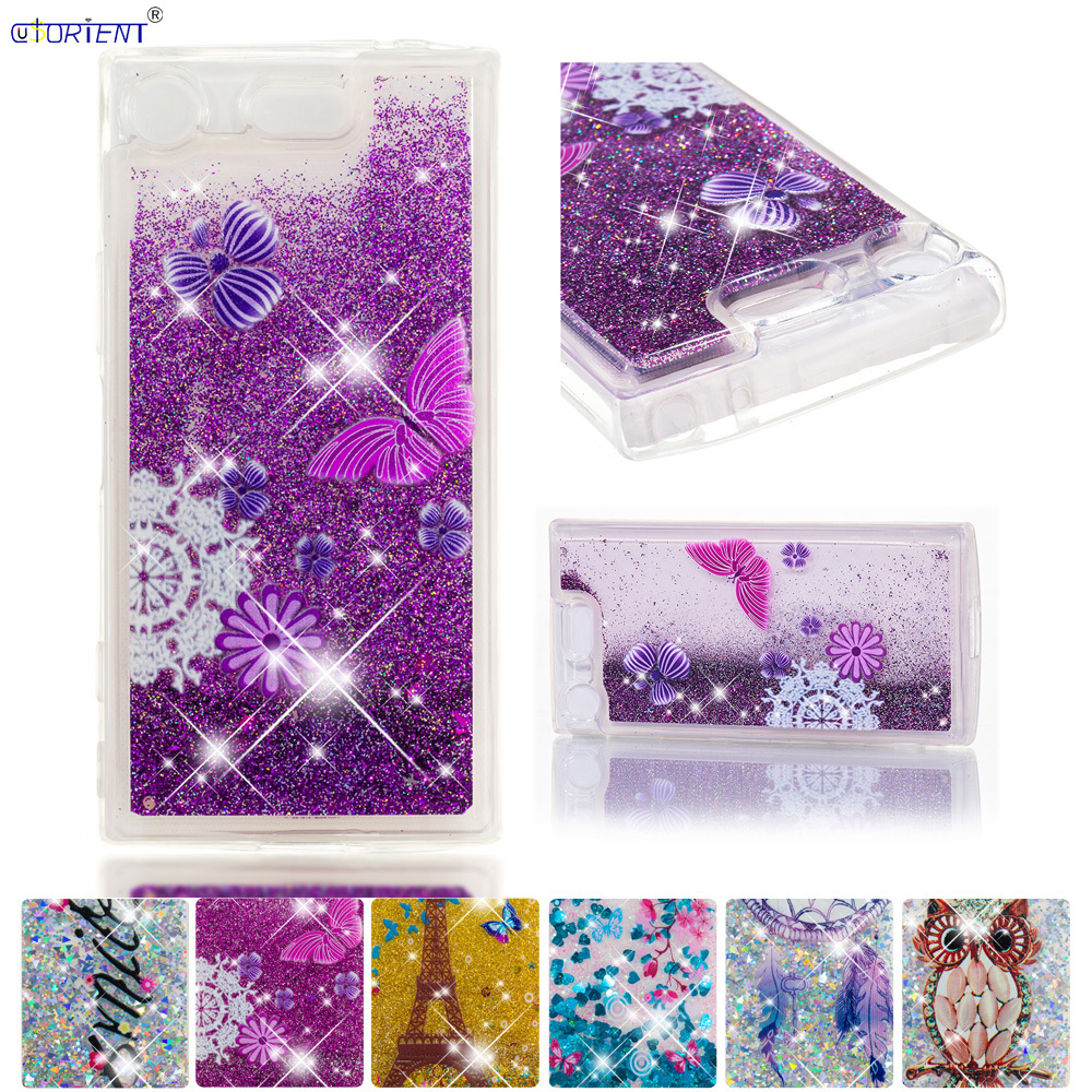 Half-wrapped Case Independent Bling Case For Sony Xperia Xz1 Compact Glitter Stars Dynamic Liquid Quicksand Phone Cover G8441 G8442 Fitted Silicone Case Funda