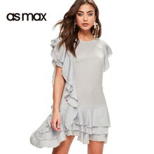 asmax 2017 Summer Fashion Gray Casual Women Dress Solid Butterfly O-Neck Sleeve Mini Dress Cute Ruffles Chic Slim Female Dress