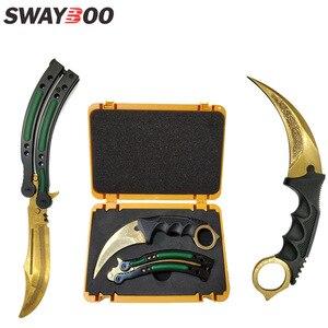 Image 1 - Swayboo csgoゲームナイフセットkarambit + トレーナーナイフ + ナイロンバッグ + ドライバー + ボックス鈍いなしエッジ刃プラスチック武器ケースコンテナ