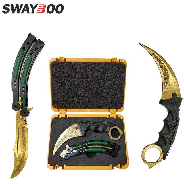 Swayboo csgoゲームナイフセットkarambit + トレーナーナイフ + ナイロンバッグ + ドライバー + ボックス鈍いなしエッジ刃プラスチック武器ケースコンテナ