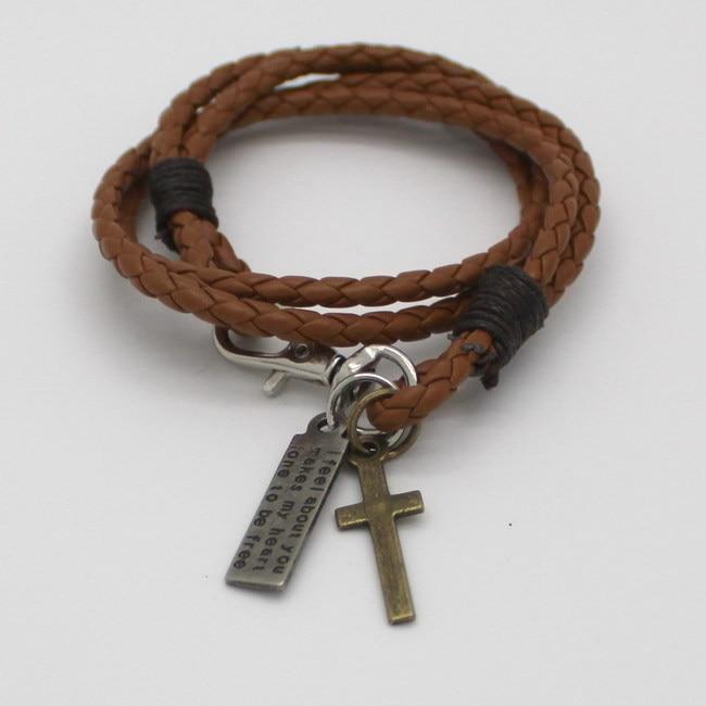 Χριστιανικός Σταυρός Δερμάτινο Βραχιόλι Γραφή Βιβλίο Ιησού Θρησκεία