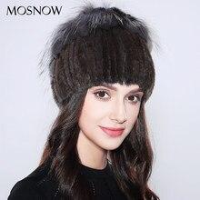 MOSNOW Donne Beanie Cappello Elegante 100% Vera Pelliccia di Visone Inverno  Argento Pelliccia di Volpe 1d1c3bdca006