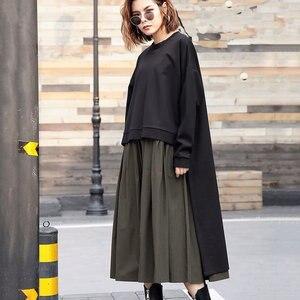Image 2 - [Xitao] 여성 유럽 패션 드레스 2019 봄 새로운 캐주얼 전체 슬리브 솔리드 컬러 오 넥 불규칙한 여성 twinset 드레스 lyh3101