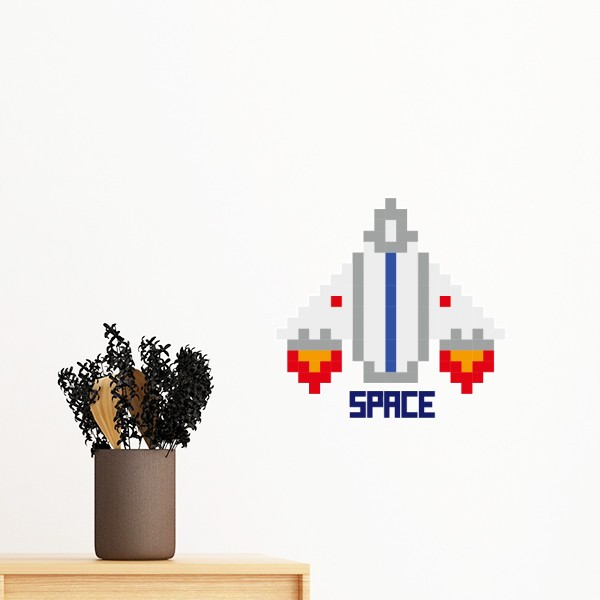 Space Ship Take Off Universe Pixel Removable Wall Sticker Art Decals Mural DIY Wallpaper for Room Decal-in Wall Stickers from Home & Garden on ...